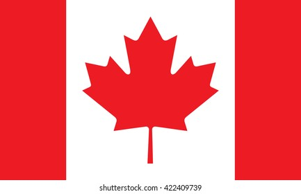 Canadian flag red white, maple leaf stylish vector illustration