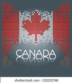 Canadian flag from square blocks, vector