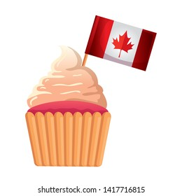 canadian flag with sweet cupcake