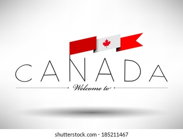 Canadian Flag with Typography Design