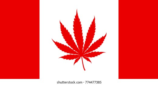 A Canadian flag in vector format where the standard maple leaf has been replaced with a marijuana icon.