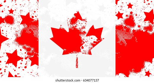Canadian flag. Vector grunge flag.