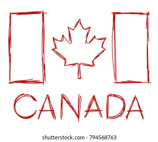 A Canadian flag and wordmark illustrated in a sketchy vector format.