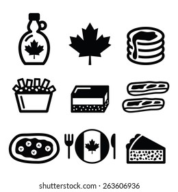 Canadian food icons - maple syrup, poutine, nanaimo bar, beaver tale, tourti�¨re