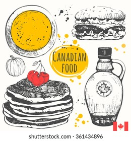 Canadian food in the sketch style.  Main course and snacks. American traditional products. Vector illustration of ethnic cooking: pumpkin soup, pancakes, burger, maple syrup.