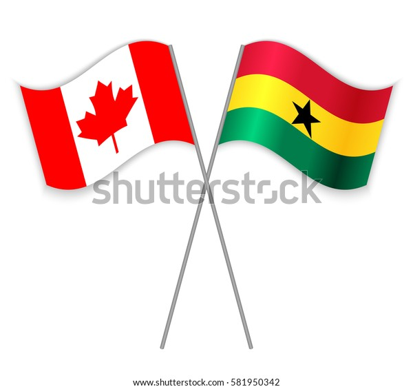 Canadian and Ghanaian crossed flags. Canada combined with Ghana isolated on white. Language learning, international business or travel concept.