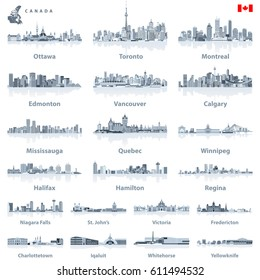 Canadian largest cities and all states capitals skylines in tints of blue color palette with water reflections; map and flag of Canada