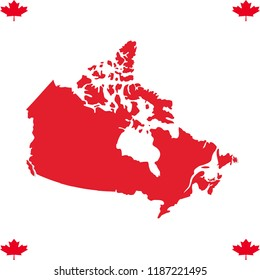 Canadian map with leaves