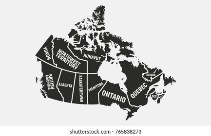Canadian map. Poster map of Canada. Provinces and territories of Canada. Vector illustration