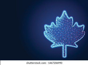 Canadian Maple Leaf, Abstract Low poly Designs, from line and dot wireframe, Vector Illustration