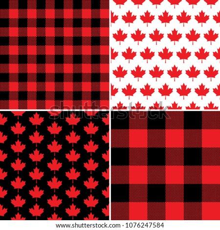 Canadian Maple Leaf Buffalo Check Plaid Stock Vector