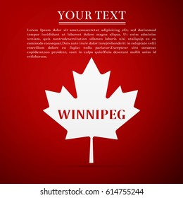 Canadian maple leaf with city name Winnipeg flat icon on red background. Vector Illustration