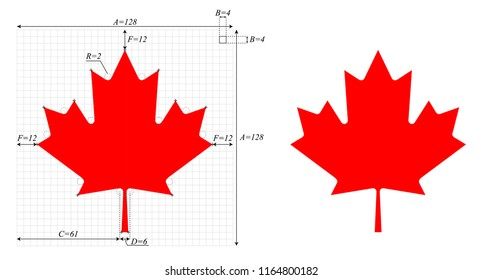 Canadian Maple Leaf, with construction sheet