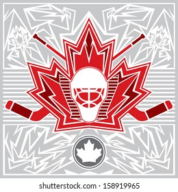 A Canadian maple leaf design featuring a hockey goalie mask and crossed sticks.
