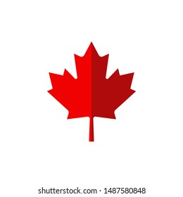 canadian maple leaf in flat style, vector illustration