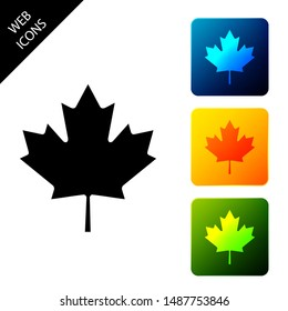 Canadian maple leaf icon isolated on white background. Canada symbol maple leaf. Set icons colorful square buttons. Vector Illustration