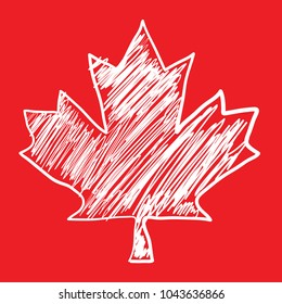 A Canadian maple leaf icon that looks like it has been sketched by hand in vector format.