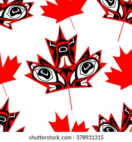 Canadian  maple leaf in native art on white background seamless pattern