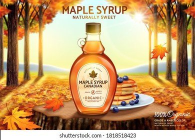 Canadian maple syrup ad with bottle mockup set on romantic autumn forest background, 3d illustration
