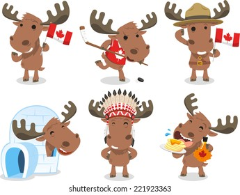 Canadian Moose Canada Mammal Animal Species Icon Culture, vector illustration cartoon.