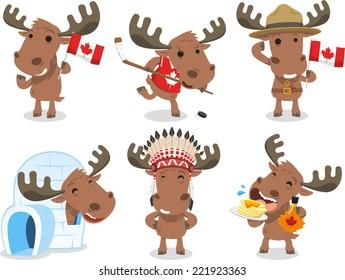 Canadian Moose Canada Mammal Animal Species Icon Culture, vector illustration cartoon.
