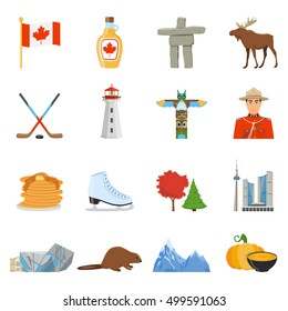 Canadian national cultural and sport symbols places of interest for tourists flat icons collection isolated vector illustration