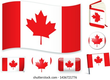 Canadian national flag. Vector illustration. 3 layers. Shadows, flat flag, lights and shadows. Collection of 220 world flags. Accurate colors. Easy changes.