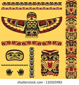 Canadian native art elements in vector
