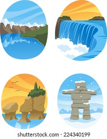 Canadian Nature Landmarks Canada Landmark, with Hopewell Rocks, Canadian Rockies, Canadian Rocky, Niagara Falls vector illustration cartoon.