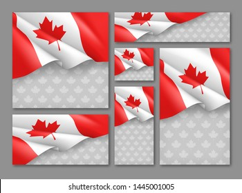 Canadian patriotic festival banners set. Realistic waving canada flag on grey background. Independence, democracy and freedom vector illustration. Canada republic day concept with space for text