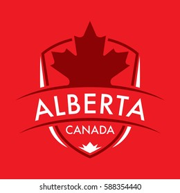 A Canadian province crest in vector format featuring a large maple leaf and text that reads Alberta.