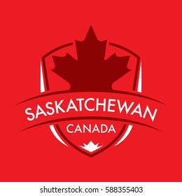 A Canadian province crest in vector format featuring a large maple leaf and text that reads Saskatchewan.