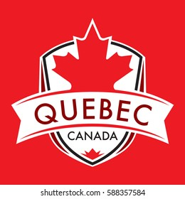 A Canadian province crest in vector format featuring a large maple leaf and text that reads Quebec.