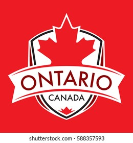 A Canadian province crest in vector format featuring a large maple leaf and text that reads Ontario.