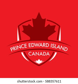 A Canadian province crest in vector format featuring a large maple leaf and text that reads Prince Edward Island.