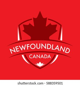 A Canadian province crest in vector format featuring a large maple leaf and text that reads Newfoundland.