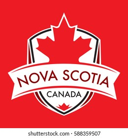 A Canadian province crest in vector format featuring a large maple leaf and text that reads Nova Scotia.