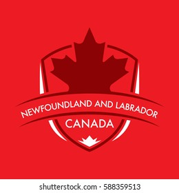 A Canadian province crest in vector format featuring a large maple leaf and text that reads Newfoundland and Labrador.