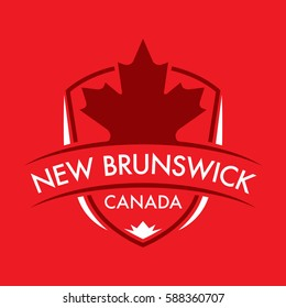 A Canadian province crest in vector format featuring a large maple leaf and text that reads New Brunswick.