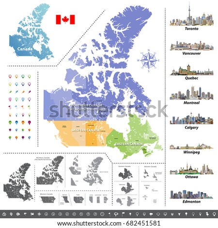 Provinces And Territories Of Canada Map.Canadian Provinces Territories Map Colored By Stock Vector Royalty