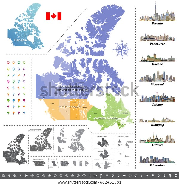 Colored Map Of Canada.Canadian Provinces Territories Map Colored By Stock Vector Royalty