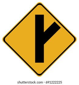 Canadian road warning sign - 45 degree Intersection ahead. This sign is used in Ontario.