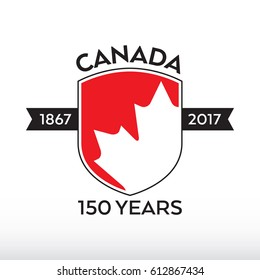 A Canadian shield celebrating Canada's 150th birthday in vector format.
