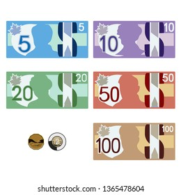 Canadian style money bills & coins