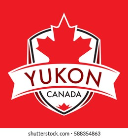 A Canadian territory crest in vector format featuring a large maple leaf and text that reads Yukon.