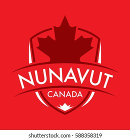 A Canadian territory crest in vector format featuring a large maple leaf and text that reads Nunavut.