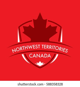 A Canadian territory crest in vector format featuring a large maple leaf and text that reads Northwest Territories.
