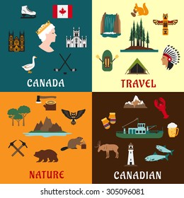 Canadian travel symbols and nature landmarks with national flag, fishing and timber industry, hockey, forest, waterfall, mountains, aboriginal culture, animals and bird flat icons