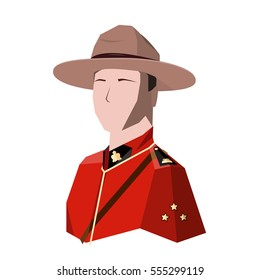 canadian trooper in the red coat and hat.