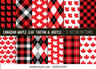 Canadian Vector Patterns in Maple Leaf, Tartan Plaid and Argyle. Canada Day July 1st Party Celebration Backgrounds. Red, Black & White. Northern Lumberjack Plaid Prints. Pattern Tile Swatches Included
